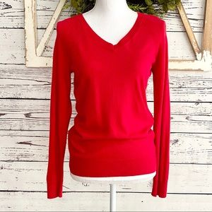 🆕Kohl's Apt 9 Cashmere Blend Red V/neck Sweater